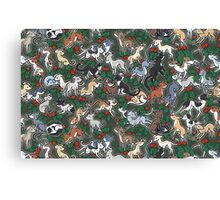 Green Holly Hounds Canvas Print