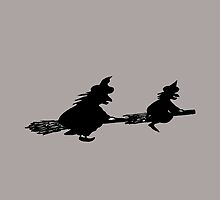 halloween black witches on broomsticks spooky  by pollywolly