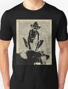 Stencil Of Gollum,Smeagol Over Old Dictionary Page T-Shirt