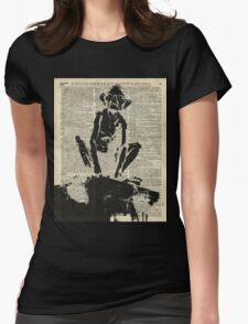 Stencil Of Gollum,Smeagol Over Old Dictionary Page Womens Fitted T-Shirt