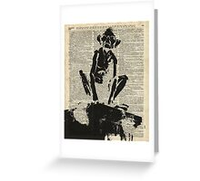 Stencil Of Gollum,Smeagol Over Old Dictionary Page Greeting Card