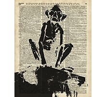 Stencil Of Gollum,Smeagol Over Old Dictionary Page Photographic Print