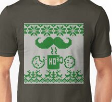 Santa's Stache Over Green Midnight Snack Knit Style Unisex T-Shirt