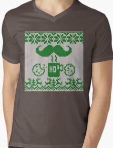 Santa's Stache Over Green Midnight Snack Knit Style Mens V-Neck T-Shirt
