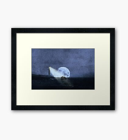 Across The Sea A Pale Moon Rises Framed Print