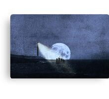 Across The Sea A Pale Moon Rises Canvas Print