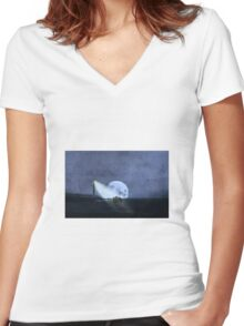 Across The Sea A Pale Moon Rises Women's Fitted V-Neck T-Shirt