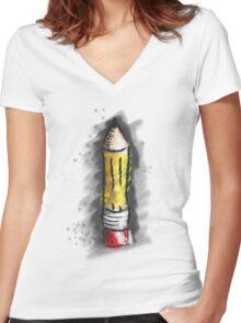 Pencil Art Women's Fitted V-Neck T-Shirt