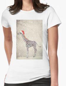 Christmas Giraffe Womens Fitted T-Shirt