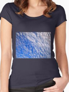 Dense stratus clouds against the blue sky Women's Fitted Scoop T-Shirt