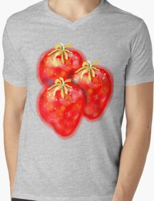 3 Strawberries TEE SHIRT/BABY GROW/STICKER Mens V-Neck T-Shirt