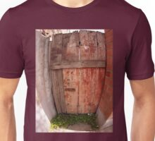 Fragment of an old wooden fence in the shade of the sun Unisex T-Shirt