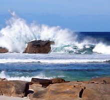 Surf hits the rocks with a crash by georgieboy98