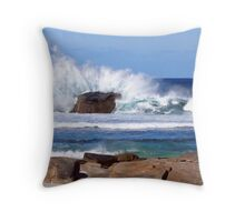 Surf hits the rocks with a crash Throw Pillow
