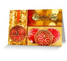 Red and Gold Christmas Ornaments Greeting Card