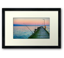 Fishing and texting on Beachport Jetty, Beachport Framed Print