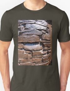 The wall of the large natural stone, painted brown paint T-Shirt