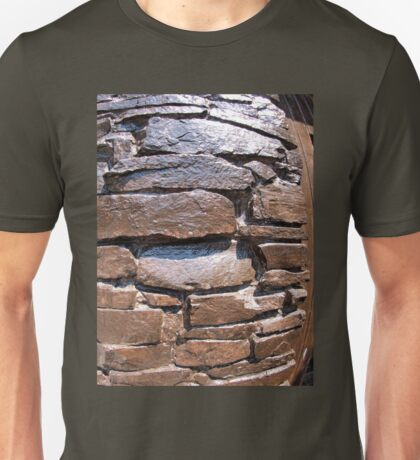 The wall of the large natural stone, painted brown paint Unisex T-Shirt
