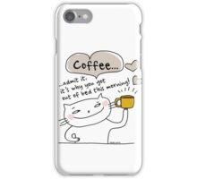 Coffee... why you got out of bed / Cat doodle iPhone Case/Skin