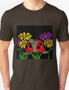 Cool Funky Turtle with Ladybug Shell and Colorful Daisies T-Shirt
