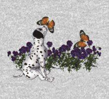 Dalmatian Puppy Butterflies Flowers Shirt Kids Clothes