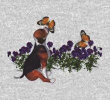 Beagle Puppy Butterflies Flowers Shirt Kids Clothes
