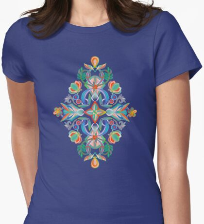 Boho Navy and Brights Womens Fitted T-Shirt