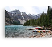 Canoes at Moraine Lake  Canvas Print