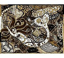 'Secret Treasures of the Fateful Mermaid ~ Sepia' Pieces Art™ Photographic Print