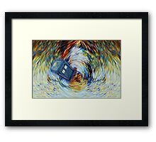 Blue Phone Booth jump into time Vortex art painting Framed Print