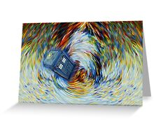 Blue Phone Booth jump into time Vortex art painting Greeting Card