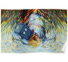 Blue Phone Booth jump into time Vortex art painting Poster