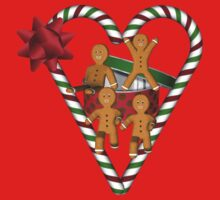 Gingerbread Men Candy Cane Heart Shirt by SmilinEyes