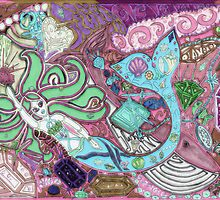 'Secret Treasures of the Fateful Mermaid ~ Pink Mint Glow' Pieces Art™ by Kayla Napua Kong