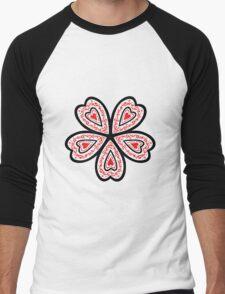 Heart Flower Men's Baseball ¾ T-Shirt