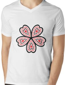 Heart Flower Mens V-Neck T-Shirt