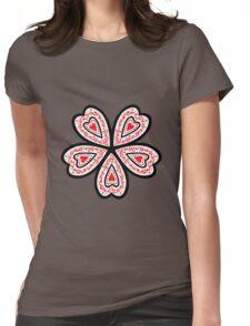 Heart Flower Womens Fitted T-Shirt