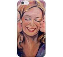 Two Daughters Kissing Mom iPhone Case/Skin