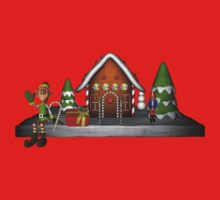 Boy Elf Gingerbread House Holiday Shirt by SmilinEyes