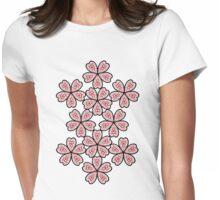 Flower Heart Pattern Womens Fitted T-Shirt