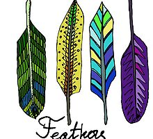 Hand drawn ink feathers set. by TrishaMcmillan