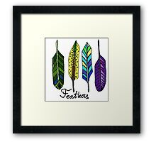Hand drawn ink feathers set. Framed Print