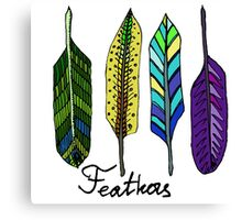 Hand drawn ink feathers set. Canvas Print