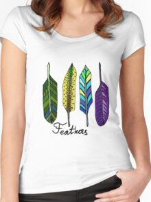 Hand drawn ink feathers set. Women's Fitted Scoop T-Shirt