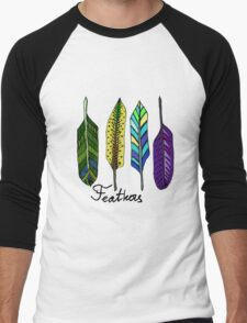 Hand drawn ink feathers set. Men's Baseball ¾ T-Shirt