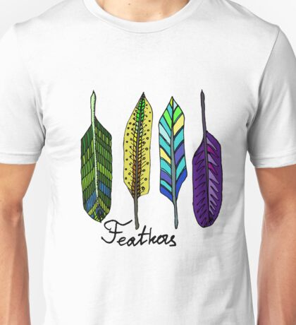Hand drawn ink feathers set. Unisex T-Shirt