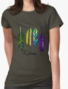 Hand drawn ink feathers set. Womens Fitted T-Shirt