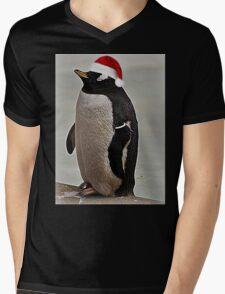 Merry Christmas Mr Penguin Mens V-Neck T-Shirt