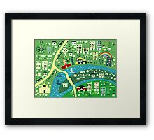 Cartoon Map of Moscow Framed Print