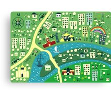 Cartoon Map of Moscow Canvas Print